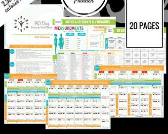 80 Day Fitness Planner | 2,300 - 2,499 Calorie Range | Printable Meal Planner | Meal Prep, Meal Plan, Grocery List & More!