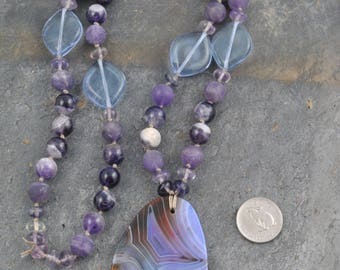 Boho Hand Knotted Amethyst/Agate Pendant Bead Necklace