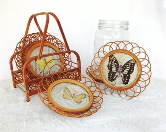 Vintage Rattan and Whicker Butterfly Coasters Set and Storage Basket | 70's Retro Boho Deco | Taxidermy