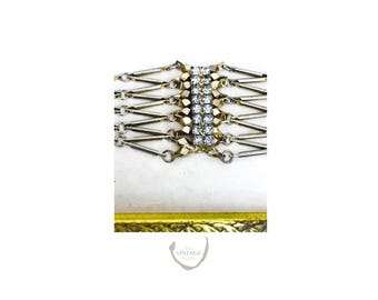 Rare Vintage Gold and Rhinestones Adjustable Bracelet | Free Shipping & Gift Bag