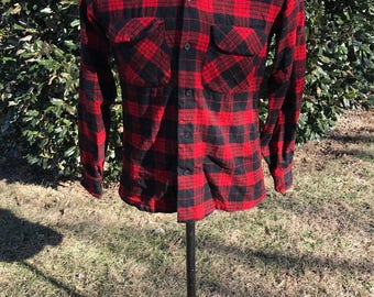 1980s Pendleton 100% Virgin Wool Flannel Button Down Shirt, Size Small