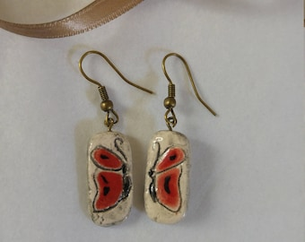 Earrings ceramic butterflies