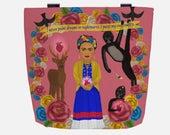 Pink Frida Kahlo Tribute Tote Bag with Roses, Monkeys, Birds, Deer, and Hearts