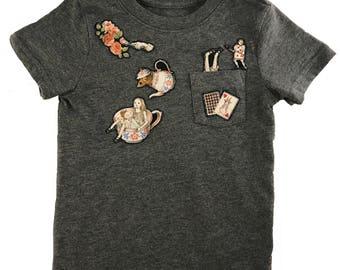 Alice in Wonderland Toddler Appliqué Gray T-Shirt, Hand Stitched