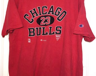 90s NBA Chicago Bulls 23 Champion Tee Shirt Mens Size Large