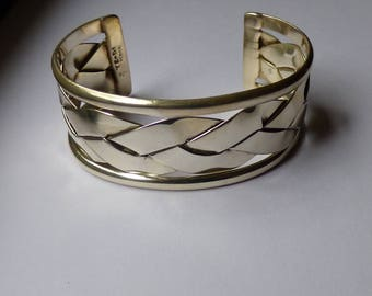 Braided silver modernist Cuff Bracelet