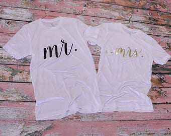 Wifey Hubby Shirt Set - Wifey Shirt - Hubby Shirt - Hubby Tee - Hubby Tshirt - Husband Tee - Husband T-shirt - Mrs Mr Shirts - Bride Groom