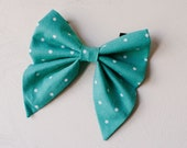Girly bow teal polka dot pattern, feminine dog collar bow, spring dog bow for girls, pretty sailor bow, floppy collar bow for dogs