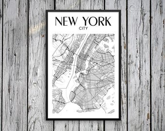 New York Framed Poster, Urban Map Poster, Wall Decor Urban Art, NYC Urban Maps Posters, New York Framed Wall Art, Framed Map New York Decor