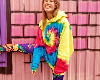 Hippie winter rainbow tie dye hoodie Valentines day gift for her Clothing gift