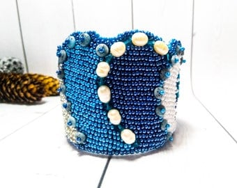 Blue bead bracelet white pearl Gift beaded Blue Pearls Handmade cuff beaded Jewelry Holiday Bead pearls Beautiful Beadwork bracelet Jewelry