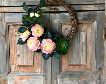 The Madison mini spring camellia wreath/Spring wreath for door/centerpiece ring/wedding wreath/wedding decor/modern wreath/minimalist wreath
