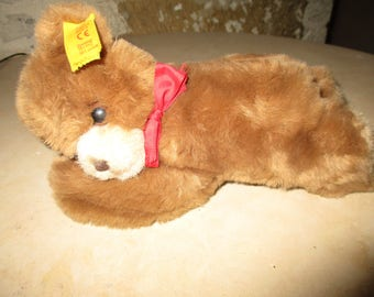 Adorable little bear asleep STEIFF button and flag, in very good condition 20 cm ref: 082108 Floppy Bear