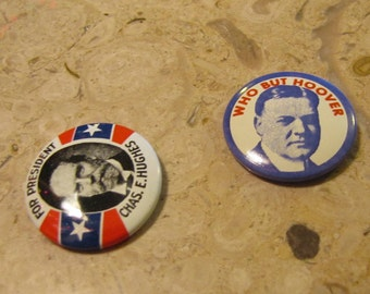 Vintage Set of 2 Political Campaign Buttons made by Kleenex Tissues in 1968 Hoover and Hughes
