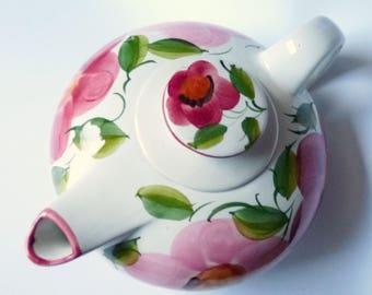 Vintage Teapot OAL Olaria de Alcobaca Design Portugal Art Pottery Large Hand Painted Floral Jug 70's