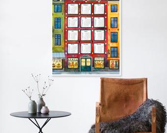 2018 Large Wall Calendar, A1 Printable USA Holiday Calendar, PDF+JPEG Calendar, Printable Calendar, Wall Calendar, Watercolor, Stockholm