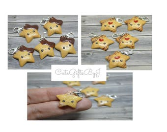 Cute Kawaii star Biscuit pendant-Polymer clay charm//chocolate//jam//icing//jewelry, food jewelry