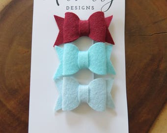 Blues and Red Felt Bow Set