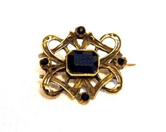 Antique Brooch, Art Nouveau Brooch, Bronze Brooch, 19th Century Brooch, Ties Brooch, Jet Brooch, Victorian Brooch with Box