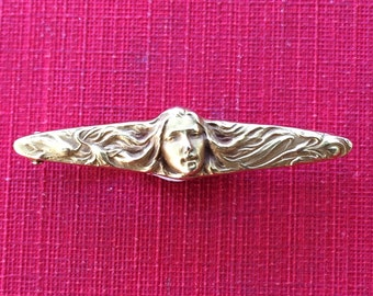 Gold Art Nouveau Face Lingerie Pin