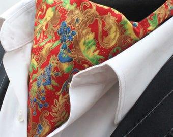 Cravat Ascot. UK Made. Metallic Floral Cravat & Hanky.Premium Cotton.