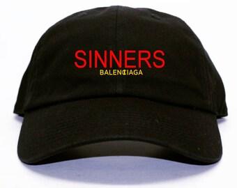 Sinners Balenciaga x Champion Inspired Black Dad Hat