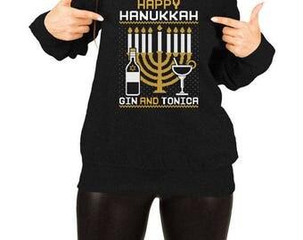 Funny Hanukkah Gifts Ugly Sweater Happy Hanukkah Pullover Drinking Gifts Holiday Clothing Jewish Clothes Menorah Slouchy Sweatshirt TEP-384