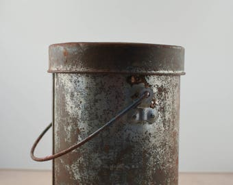Rustic Silver Can with Lid and Handle