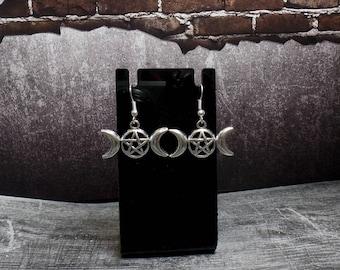 Triple Moon Pentacle Earrings - Silver Pentagram Earrings - Wiccan Earrings - Pagan Earrings - Triple Goddess Pentagram