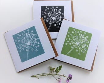 Allium lino cut greetings card