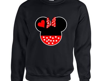 Minnie Mouse Head Ear Design Clothing Adult Unisex Sweatshirt Crew Neck Printed Sweater for Women and Men