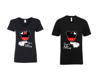 Valentine Gifts Disney Mickey Mouse He's /She's Mine COUPLE Printed Adult V Neck Shirts Unisex VNeck T-Shirts for Men Women Matching Clothes
