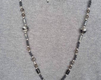 Necklace long grey and black beads, Valentine's day gift, gift for woman, cheap gift, Valentine's day, gift idea