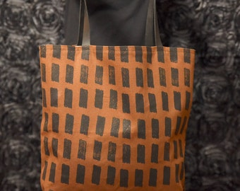 Screen printed, canvas, leather tote bag