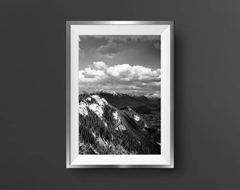 Black White Mountain Landscape Photo Cloud Photography Monochrome Nature Pine Tree Forest High Contrast Photo Nature Poster Modern Wall Art