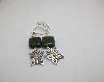 Green jasper with butterfly charm earrings