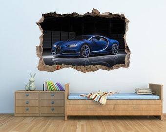 Bugatti Chiron Sticker 3D Wall Crack Bugatti Print Car Sticker Bugatti  Sticker Sportcar Supercar Decal Garage