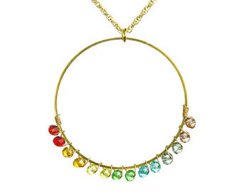 Chakra Crystal Gold Ring Outline Necklace