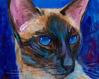 Siamese Cat Original Acrylic Painting