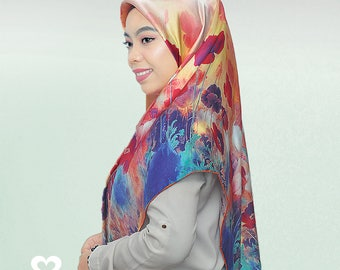 "Free Shipping 100% Charmeuse Silk Square Scarf Hijab Wrap Flowers Blooming 43*43 "" / 110 *110 cm"