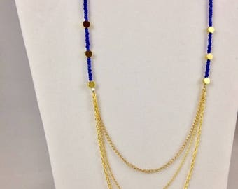 Layered necklace with Blue Glass beads