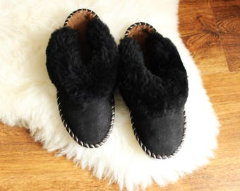 SHEEPSKIN slippers LEATHER fur slippers for mens black brown sheep wool home shoes boot woolen fur handmade christmas gift for him boyfriend