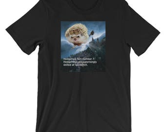Hedgehog Unisex T-Shirt: Funny Hedgehog Fact #7 Hedgehog Gift