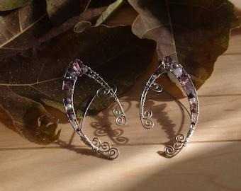 Wire Wrapped Pixie Ear Cuffs Amethyst