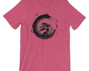 Unisex Bonsai Tree Zen Sumi-e Ink Circle Shirt