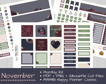 November Monthly Kit, MAMBI Happy Planner Digital Printable Stickers for Autumn, Fall, or Thanksgiving