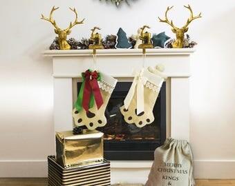 Christmas Dog Stockings | Customized Dog Stockings | Dog Paw Stocking | Christmas Pet Stocking | Paw Print Dog Stockings | Custom Stockings