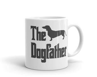 The Dogfather mug, dachshund silhouette, wiener silhouette, weiner, funny dog gift mug, The Godfather parody, dog lover mug, dachshund mug