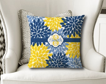 Monogram Flower Throw PILLOW, Floral Yellow Navy Blue, Flower Pillow Cover or With Insert, Flower Matching Bedding, Choose Your Colors