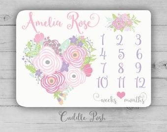 Flower Heart Milestone Blanket, Flower Heart Blanket, Floral Newborn Photography Backdrop, Month Growth Chart Quilt, Girl Shower Gift